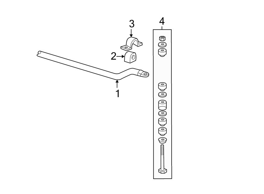 buick rendezvous suspension stabilizer bar  front   components