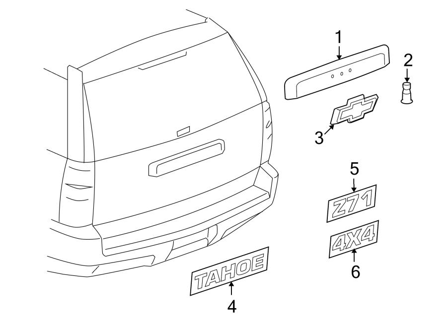 Chevrolet Tahoe Liftgate Finish Panel  Camera  Rear