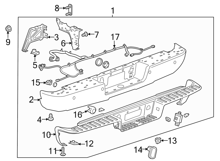 Chevrolet Silverado 1500 Bumper Face Bar  Rear   Step  Corner