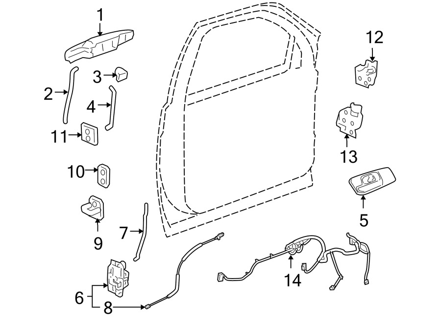 gmc sierra 1500 door latch cable lock locks power. Black Bedroom Furniture Sets. Home Design Ideas